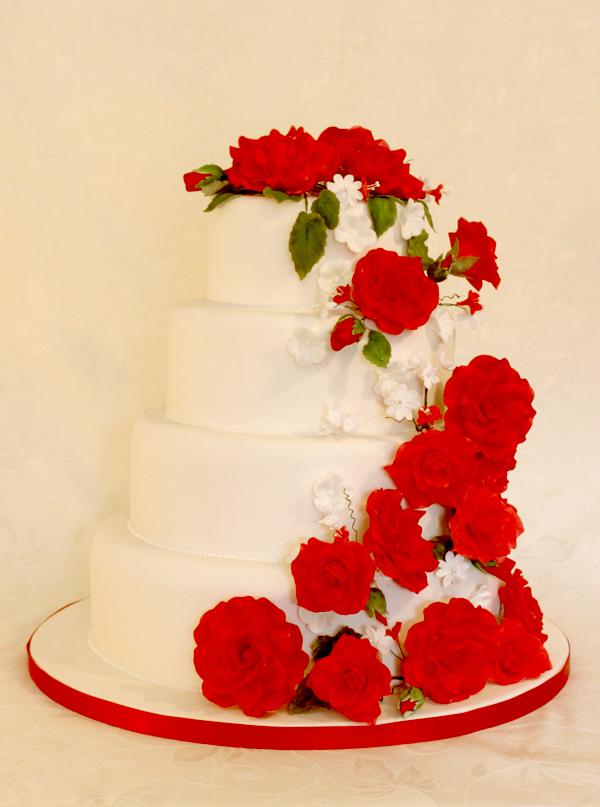 Wedding Cake Red Roses Cascade