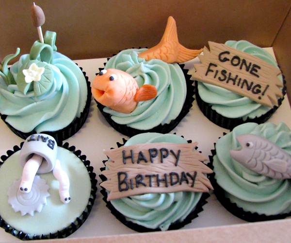 Fishing themed Birthday Cupcakes