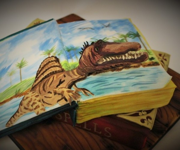 3D Dinosaur Book Cake