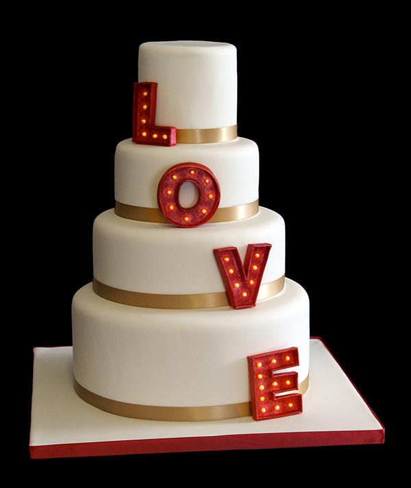 Wedding Cake Love in Lights