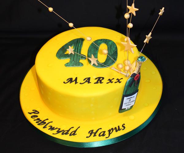 Champagne 40th Birthday Cake