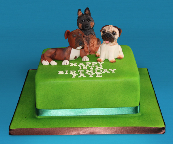 16th with 3 Dogs Cake