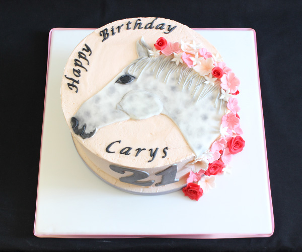 21st Grey Mare Flowers Cake