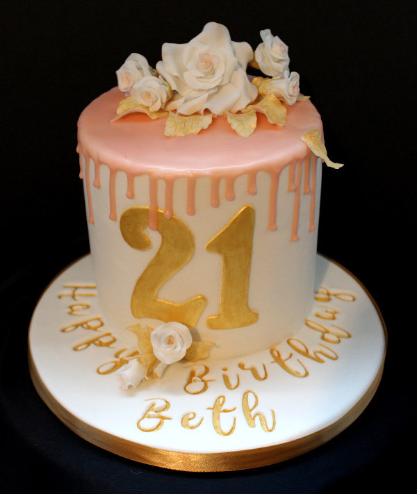 21st Pink Drip & Flowers Cake