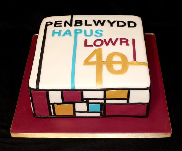 40th Mondrian Style Birthday Cake