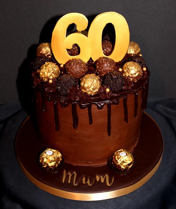 60th Ferrero Rocher Chocolate Drip Cake