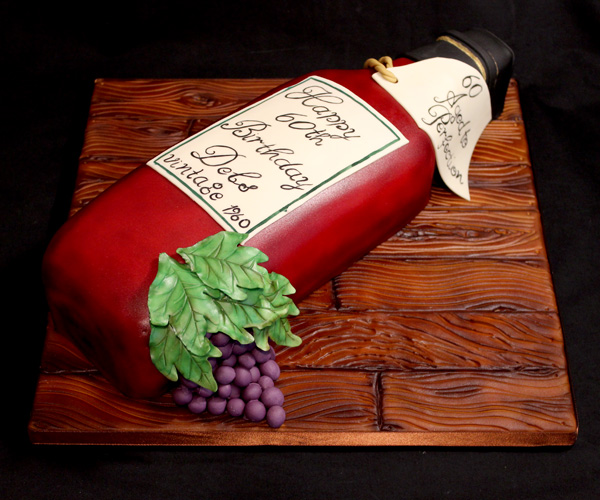 60th Birthday Wine Bottle Cake