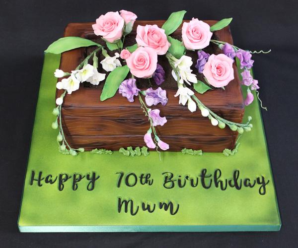 70th Flowers Gardenbox Cake