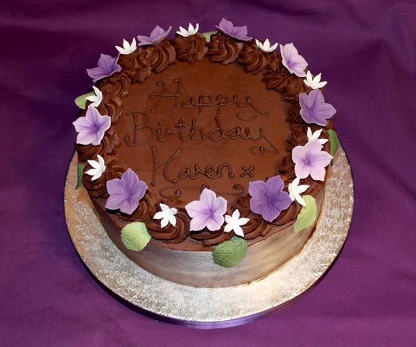 Chocolate Purple Flowers Cake