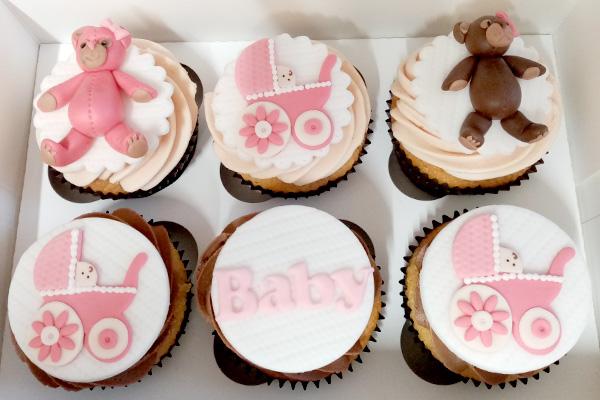 Baby Girl Pink Bear Cupcakes