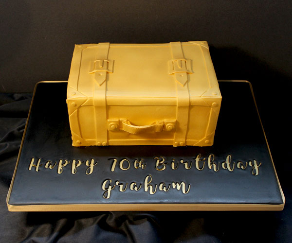 70th Golden Suitcase Cake