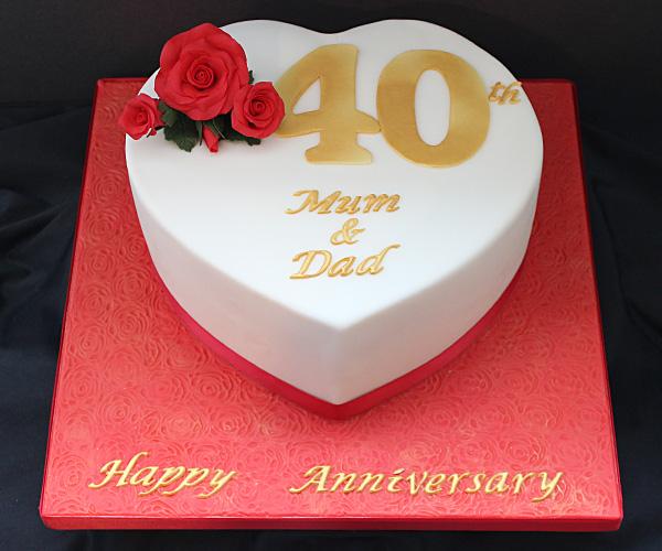 Heart 40th Wedding Anniversary Cake