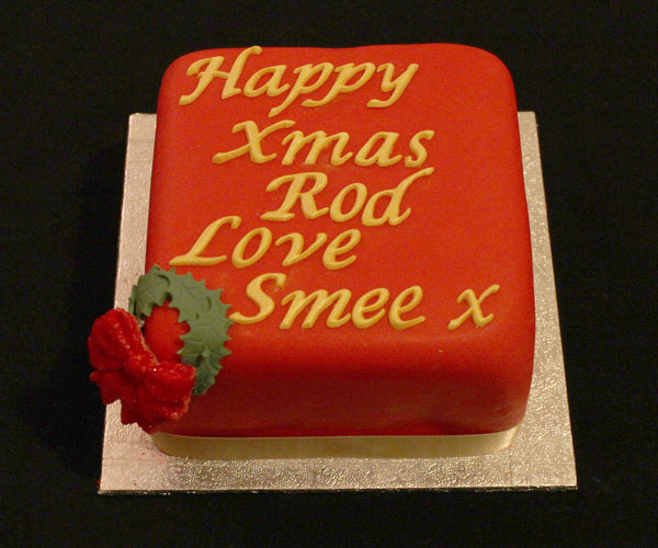 Red Ribbon & Gold Christmas Cake