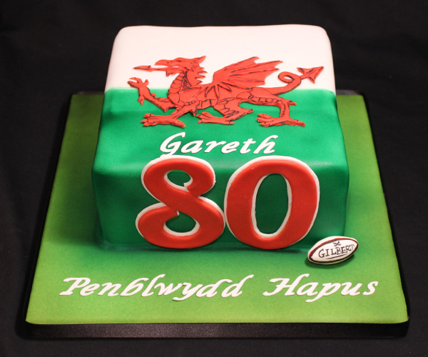 80th Welsh Dragon & Rugby Cake