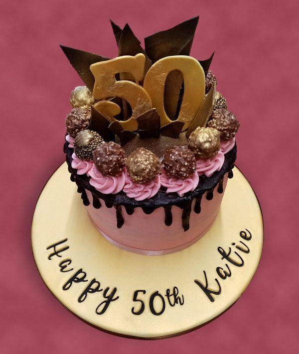 50th Chocolate Drip Cake